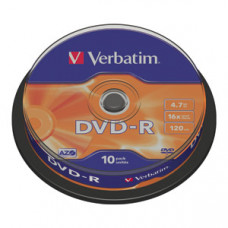 DVD-R 4,7GB 16X VERBATIM MATT SILVER SPINDLE 10/1