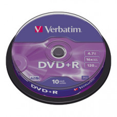DVD+R 4,7GB 16X VERBATIM MATT SILVER SPINDLE 10/1
