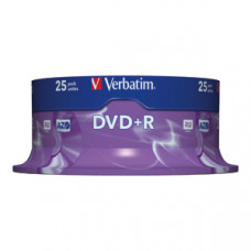 DVD+R 4.7GB 16X VERBATIM MATT SILVER SPINDLE 25/1